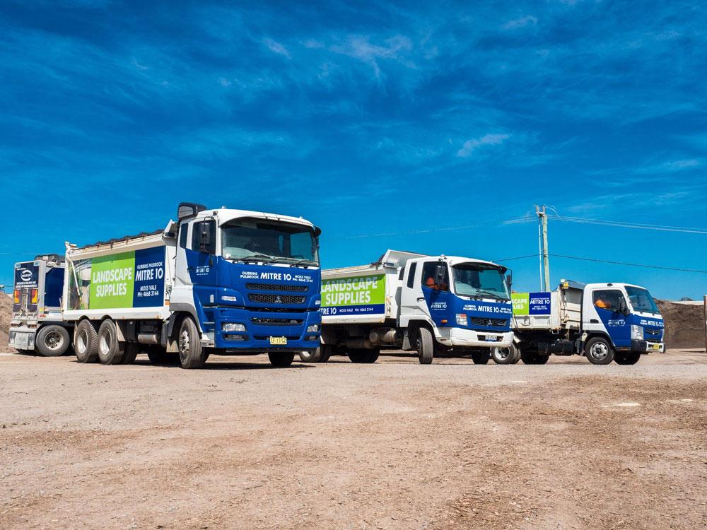 delivery trucks at gubbins pulbrook